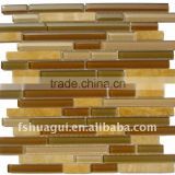 HG-CDT002 Brown strip crystal glass mix Rosin Yellow marble mosaic hotel loby backsplash interior wall tiles
