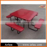 Wholesale square steel outdoor picnic table chairs with umbrella hole