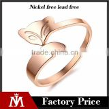 Stainless steel rose gold fox ring