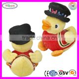 D916 Soft Yellow Singing Farm Duck Bird Stuffed Toy Talking Plush Bird with Suit