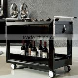 Black Wooden leather Dining Trolley for home hotel