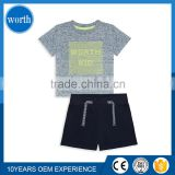 Worth Kids Summer Cool Breathable Child 2 Pcs Set Direct Skin Touch T shirt and Drawstring Trousers Custom Logo Print