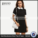 Black Peter Pan Collar Short Sleeve Shift Dress Patchwork 100% Polyester Short Sleeve Short Dress