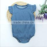 New Model Baby Denim Clothes Infant Plain Color Bodysuit Toddler Girls Ruffle Design Romper