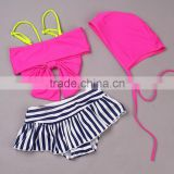 New Arrival Girls Swimwear Two Piece Hot Pink And Zebra Toddler Swimsuit For Girls With Swimming Cap Kids Swimwear SR40417-17