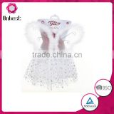 Wholesale feather white angel wings / white tutu skirt for halloween party wing costume