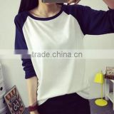 Women Long Sleeve T Shirt Color Patchwork Cotton Colorblocked Baseball T-Shirt 2016 Spring Autumn New Casual Tops