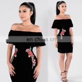 Amigo 2017 latst black off shoulder sexy bandage dress midi tube elegant embroidery evening dresses for girls party wear