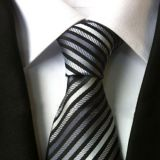 Classic Strips Standard Length Silk Woven Neckties Plain White