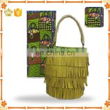 2017 Popular small african wax hollandais fabric matches wax handbag with fringing sets for partyH170120007