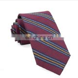 Hand made range stripe mens silk linen business tie