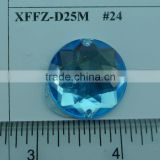 Round Shape LIGHT BLUE COLOR Acrylic Stone, sewing for Button, Flatback plastic stone 25mm