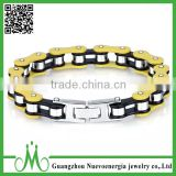 New Design Silver Black Yellow Motorcycle Bike Chain Bracelet Stainless Steel Mens Cuff Bracelet