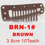 BRN-1# Retail and wholesale 38mm long Brown color straight 10 teeth easy snap clips for hair extensions wigs wefts weavings