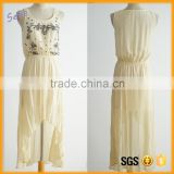 OEM handmade beaded dress chiffon maxi dress short front long back dress casual                                                                                                         Supplier's Choice