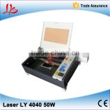 Latest MINI crystal laser engraving machine LY 4040 co2 laser cutter 50W Super quality,hot sale