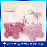 Designed High Quality Leather Key Chain Rhinestone Butterfly Jewelry keychain Women Alloy Keychains K0087                                                                         Quality Choice