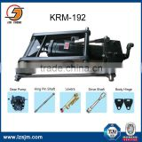 automatic hydraulic hoist for rear dump truck with hinge assembly
