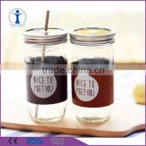 wholesale bulk glass mason jars with straw                                                                         Quality Choice