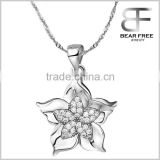 925 Sterling Silver White Gold Plated Pink Clear Cubic Zirconia Bauhinia Flower Pendants for Necklaces Women's Jewelry