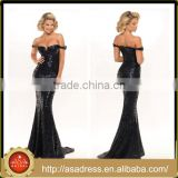 PS-01Exceptionally Sexy Custom Made Formal Evening Party Gown Full Length Sleeveless Black Sequined Prom Dresses for Party