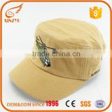 New style elastic band high crown printing logo yellow children military baseball cap