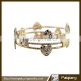 Simple design jewelry multi layered heart shape wire bangle decorated with shiny rhinestone