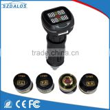 Car tpms tire temperature tire pressure monitoring systems with 4 tpms sensor tire valves