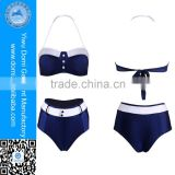 Hot sexy push up bikini 2016 button trim navy fashion retro high waist bikini for adults