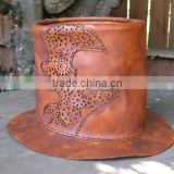 Leather Steampunk Tophat with Gears - Natural Tanned - Designed by BLUE KING LEATHER