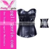 Wholesale top quality Plus size sexy leather corset Black Corsets and Bustiers Overbust