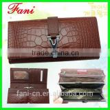 2014 fashion genuine cowhide leather wallet for lady and young girl with metal Y belt design