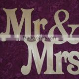 Mr & Mrs Sign With Heart Unfinished Wood Wedding Plaque Paintable Stainable