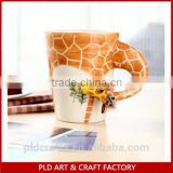 3D Ceramic giraffe coffe cup customized mug modern design