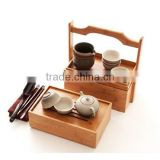 custom portable bamboo tea caddy, travel tea serving box, bamboo tea serving tray with handle wholesale