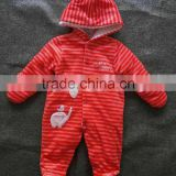 Factory Price Excellent Quality Cotton Winter Girls Clothes Yarn Dye Stripe Long Sleeve Baby Romper