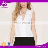 2016 guangzhou shandao oem service summer new design casual chiffon plain dyed sleeveless ladies western tops