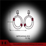 Fashion Ruby Zirconia Black Plating Micro Pave Sterling Silver Earrings