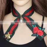 Fashion Embroidery Rose Bee Pearl Pendant Women Girls Strip Scarf Choker Necklace Jewelry