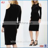 New Arrival Stylish Black Velvet Cold Shoulder Midi Maternity Clothes Pregnant Women Dresses