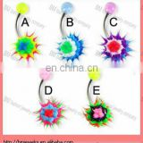 Belly button ring with silicone koosh ball, layer pattern ,navel ring body piercing jewelry ring