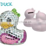 2015 fashion sequin ceramic money bank for kids---duck