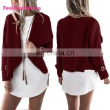 2017 Fashion Autumn And Winter Red Casual Loose Long Sleeve Sweater Cardigan Women