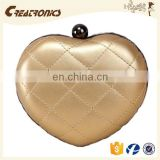 CR 80% customers repeat orders shining quilted griddings pu surface heart-shaped long chian gold new small coin purses wholesale