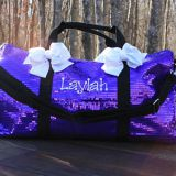 purple sequined duffel dance bag cheer sequin bags