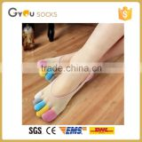 Summer Style Cotton Women low cut Toe Socks Colorful Silicone Deodorant Ankle Calsetines Five Finger Summer Dress Boat Socks
