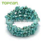 Topearl Jewelry Handmade Bracelets 3pcs Blue Turquoise Chip Beads Memory Wire Bangles and Bracelets SBR298
