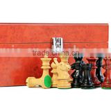 Madrid Tres Corone Series ivory giant chess set with leather box