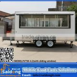 High quality Fiberglass Mobile Hot Dog Cart Trailer for fast food hamburger cart for sale