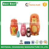 Best seller 5pcs Handmade Wooden Cute Cartoon Animals nesting doll                                                                         Quality Choice